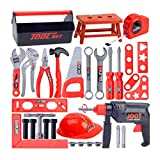HOMYL 31 Piece Workshop Pretend Play Toolbox Toy Set with Electric Drill