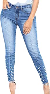 Howely Womens Bead Washed Fashion Slim Fit Mid Waist Denim Pants with Pockets
