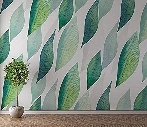 Fondo de pantalla de hojas de plantas verdes simples frescas Pared Pintado Papel tapiz 3D Decoración dormitorio Fotomural de estar sala sofá mural-430cm×300cm