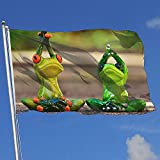 wallxxj Decor Flag Frösche Feigen Gymnastik Lustig Willkommen Standard Garten Fahnen Im Freien Lebendige Bunte Druck Hof Flagge Hof Banner Urlaub 150X90 cm