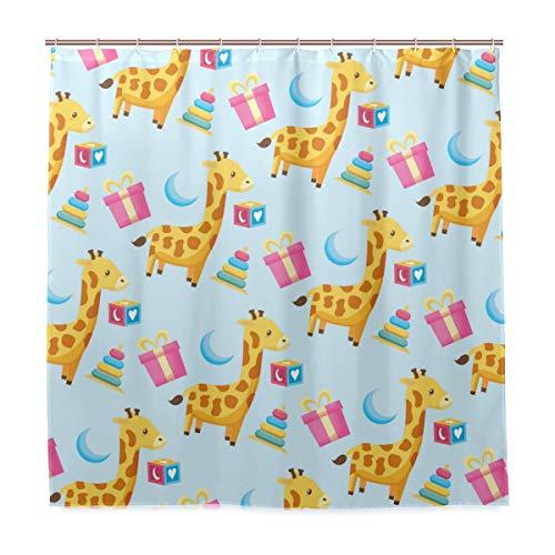 BEITUOLA Duschvorhang 180 x 180cm,Baby-Dusche Hintergr& Spielzeug Giraffe Geschenk,Wasserdicht Polyester Textil Stoff Badewannevorhang Shower Curtain