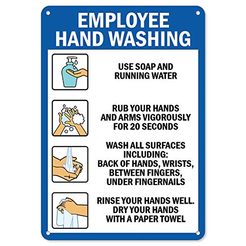 SignMission Coronavirus (COVID-19) - Employee Hand Washing | Plastic Sign | Protect Your Business, Municipality, Home & Colleagues | Made in The USA, 10' X 7' Rigid Plastic