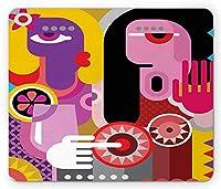 tappetino per mouse da gioco, motivo astratto, design astratto, biondo e brunette donne con bicchieri da cocktail e vino, tappetino rettangolare in gomma antiscivolo, multicolore