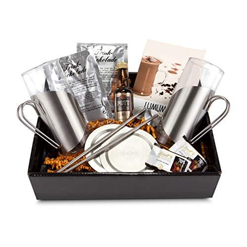 Geschenk Set, verschiedene Ausführungen, inkl. Gläsern, Untersetzern Trinkhalmlöffeln, Lumumba, Kaffee oder Tee (Lumumba, 12-teilig)