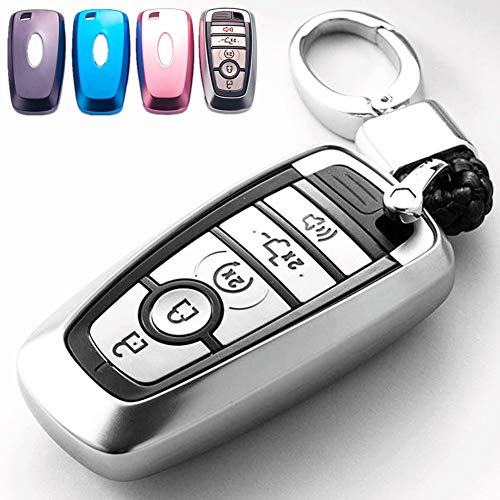 Mofei for Ford Key Fob Cover Case TPU Shell Protector Holder with Key Chain Compatible with 2018 2019 Ford Fusion F150 F250 F350 F450 F550 Edge Explorer Escape Mustang Remote Keyless Entry (Silver)