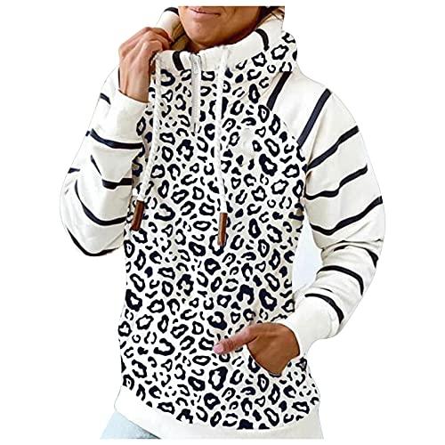 Briskorry Stehkragen Jacken Splice Sweatjacke Hoodie Jacke Rollkragen Sweatshirt Kapuzenpullover Streifen Pullover Winter Langarm Kapuzenjacke Mantel mit Tasche