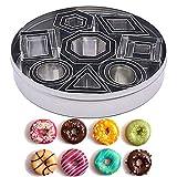 Ensemble de mini emporte-pièce - 24 pièces de forme géométrique en acier inoxydable, 8 mini-formes de coupe en 3 tailles pour les biscuits, mousse de décoration de gâteau bricolage, beignets, fondant.
