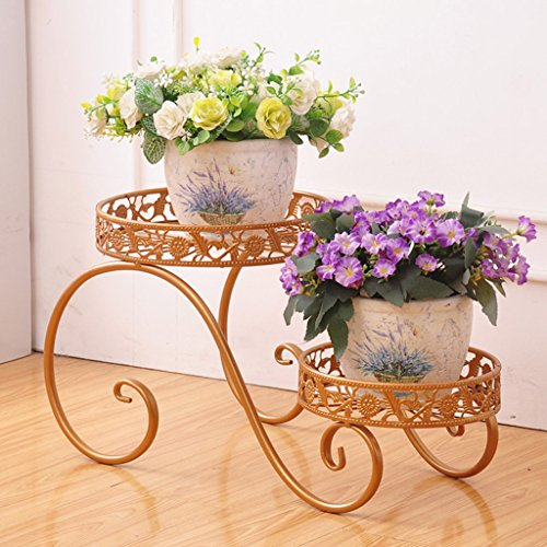 CJH Fleur de fer européenne multicouche Flowerpot Rack balcon salon sur le terrain de travail intérieur et extérieur vert charnue petite fleur Rack ( Color : Gold )