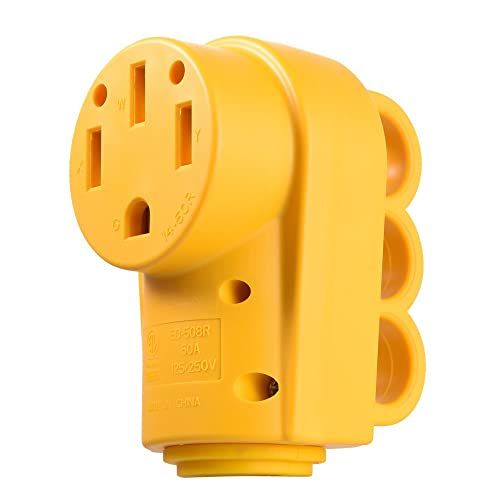 snowy fox rv 50 amp female replacement plug heavy duty receptacle plug with  ergonomic grip handle
