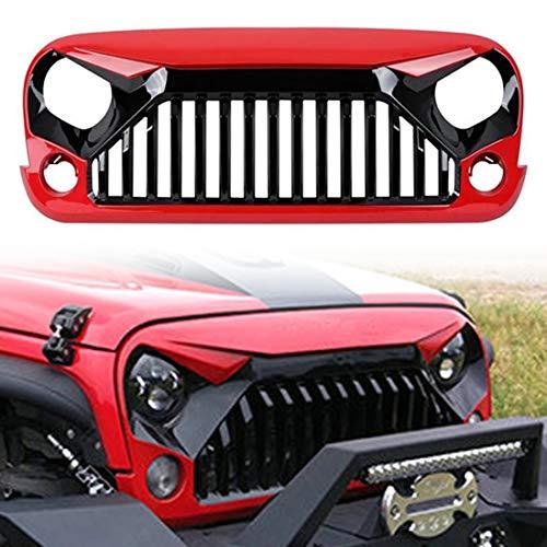 CStern Frontgrill radiator grill radiator rooster ventilatierooster voor Jeep Wrangler JK 2007-2018 zwart-rood