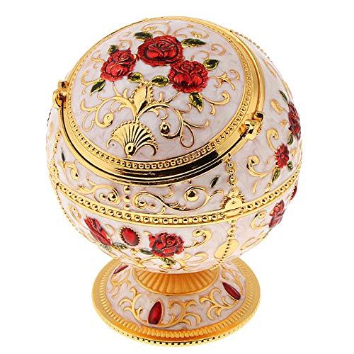 N\C Caja de almacenamiento de joyas vintage anillo de caja del tesoro y almacenamiento de joyas pequeñas, patrón elegante de flores
