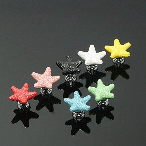 Ceramic Knobs for Kids, 7 Pack Adorable Cabinet Knobs for Girls Boys Children Nursery Dresser Drawers Furniture Bathroom Kitchen, New Set with Screws (Starfish)