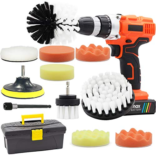 GOH DODD Drill Brush and Buffing Sponge Pads, 13 Pieces Power Scrubber Soft White Car Wash Kit Spin Brush Wheel Carpet Interior Detail Brush with Long Reach Attachment in Box for Auto Boat Motorcycle