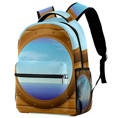 Students Backpack Sea And Blue Sky In Bronze Ship Window On Wooden Wall Casual backpack for Girls and Boys Bookbag School Bag Travel Daypack
