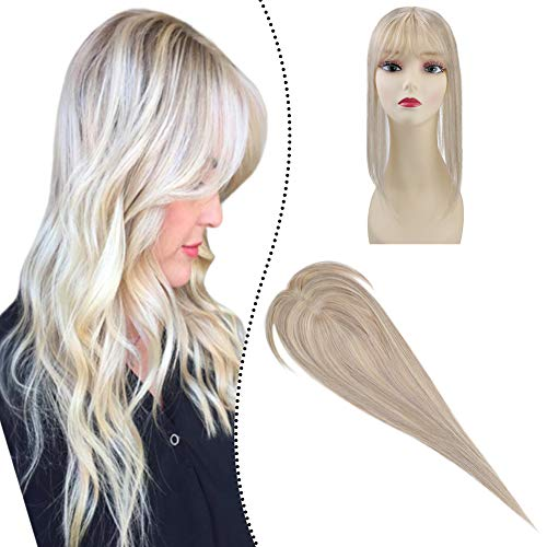 Ugeat 12×6cm Remy Hair Topper One Piece Clip in Naturliches Haar Toupets Aschblond mit Bleichblond Highlight #P18/613 Silk Base Human Hair Toppers Mono Top 16zoll