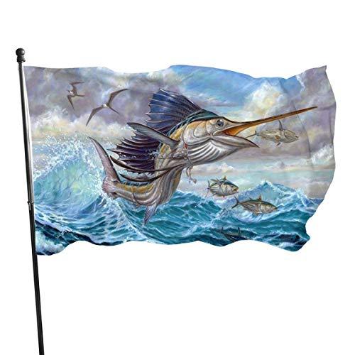 Ahdyr Bandera de jardín de 3 x 5 pies, Bandera de pez Saltador, para Fiesta en el jardín del hogar y decoración al Aire Libre de Patio, 3 x 5 pies