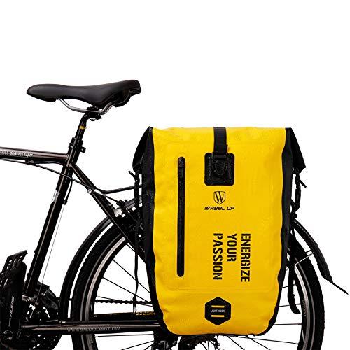 BAIGIO Alforjas para Portaequipajes de Bicicleta, Impermeable Bolsas Alforjas Traseras para Bicicletas MTB Bicicleta Carretera Bolsas Sillines Bolsa de Ciclismo para Asiento Trasero,25L (Amarillo)