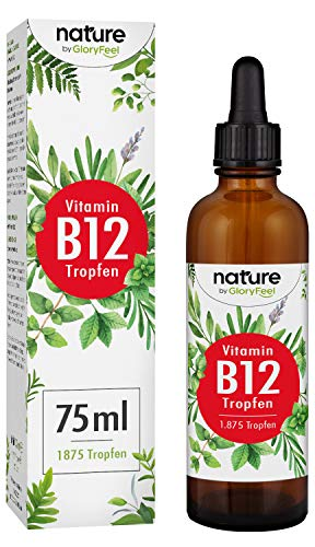 Vitamin B12 Tropfen 75ml 1000µg - 1875 Vegane Tropfen zum Einführungspreis - Beide Bio-Aktivformen (Methyl- & Adenosylcobalamin) - Laborgeprüft hergestellt in Deutschland