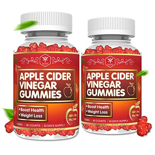 (2 Pack) Apple Cider Vinegar Gummies with Mother for Weight, Belly Fat, Organic ACV Gummies for Women & Kids, Chewable Apple Cider Vinegar Supplements for Immune Support, 120 Gummies