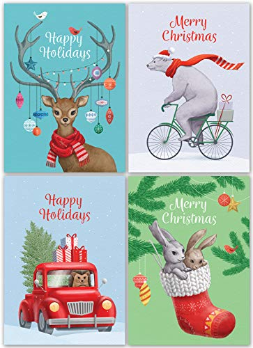 """Christmas Cards Set - 24 Holiday Cards with Red Envelopes - 4 Funny Vintage Designs featuring Retro Winter Xmas Animals! Bulk Greeting and New Years Cards- 4.1x5.8"""""""