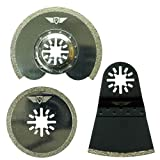 3 x TopsTools UNK3DB Diamant Lames de joint pour Bosch Fein (Pas StarLock) Makita Milwaukee Einhell Hitachi Parkside Ryobi Worx Workzone Multitool Outil multifonction Accessoires