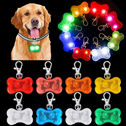 PROLOSO 8 Pcs LED Lights for Dogs Collar Dog Tags Light Up Clip-on for Dog Night Walking