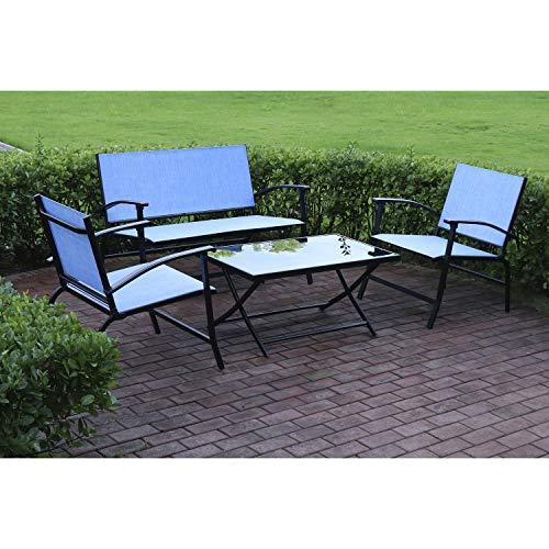Outdoor Essentials - Mesa de jardín y sillas, 4 piezas de tela, color azul, 4 plazas plegable Palma, incluye un banco de sofá y mesa de café