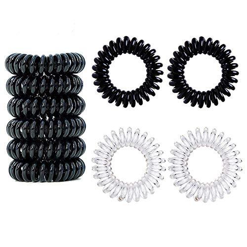Ealicere 16 Stück Telefonkabel haargummi elastisch Haarband, Spirale Telefonkabel Zopfgummi Fitness Haarband Spiral Haargummi für Damen und Mädchen, 8 Stück Schwarz und 8 Stück Transparent