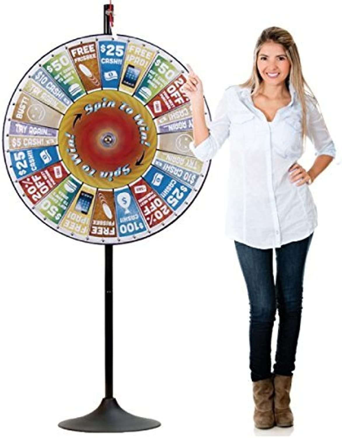 Spinning Prize Wheel  Large 36 inch Professional Grade Pocket Insert Prize Wheel with Bonus Extension Base