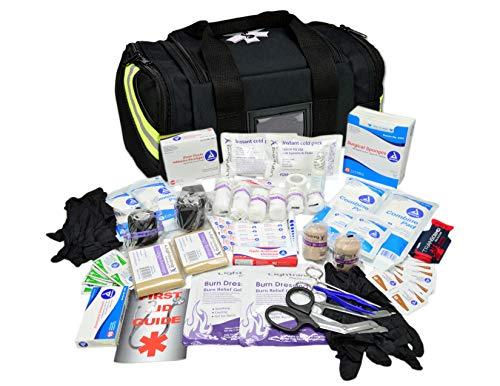 Lightning X Value Compact Medic First Responder EMS/EMT Stocked Trauma Bag w/Basic Fill Kit A - Black