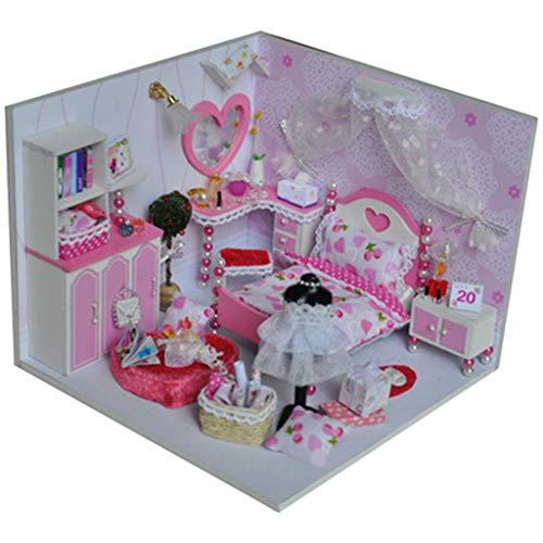 Joykith- DIY House-DIY Mini Cottage Dollhouse Creative Gift Handmade 3D Model House Fairy Tale World Beautiful Princess Castle for Girl Present Pink