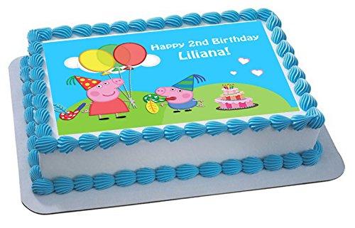 Peppa Pig et George Décoration pour gâteau personnalisée Glaçage Sucre Papier A4image B