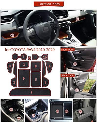 QOMFNG For Toyota Corolla 2019-2021 Anti-Slip Gate slot cup mat Interior Door Pad Cup Non-slip pad Accessories