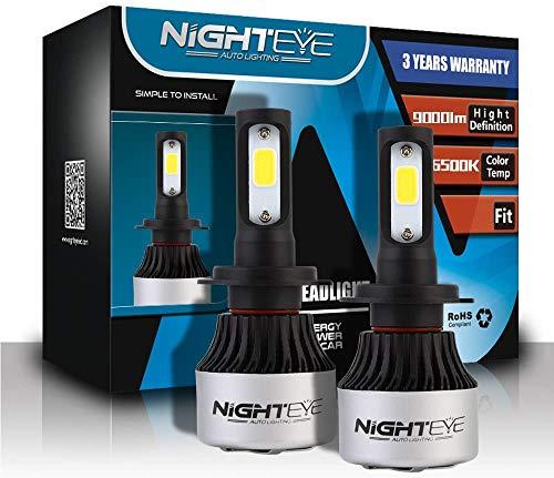 Nighteye - Juego de faros delanteros para coche (72 W, 9000 lúmenes, H7, 6500 K, xenón blanco)