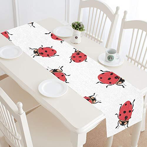Centro de Mesa Runner Kawaii Outdoor Creepy Ladybug Home Table Runner Runner para Cocina Mesa 16x72 Pulgadas para cenas Fiestas Eventos Decoración