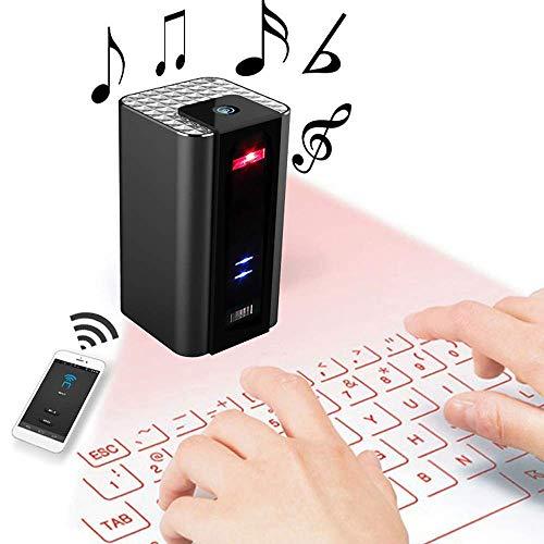 Roboraty Draadloze Bluetooth Virtuele Projectie Toetsenbord Met Audio Functie, Draagbare Hands-Gratis oproep, Muis En Toetsenbord 2 In 1 Voor Slimme Telefoons PC Laptop Tablet Zwart
