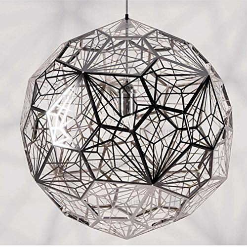 HUAXUE ZHXZHXMY Boutique Lighting - Araña Creativa Moderna Minimalista de Acero Inoxidable Poliédrica Bola Bar Bar geométrica del Acoplamiento del Metal luz Pendiente, Cromo, 50cm