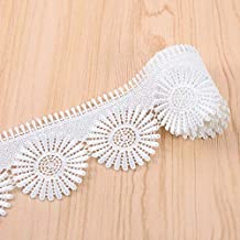 VU100 Scalloped Lace Edge Trim Eyelet 2-3/8 Inch, 2 Yards Venice Floral Applique White Lace Trims Ribbon Embroidered, for Sewing Bridal Wedding DIY Craft