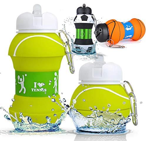 EHARN Die Welt im Warenkorb Trinkflasche | Wasserflasche | BPA-Frei | FDA | LFGB | Spülmaschinenfest | Faltbar | 200 ml - 550 ml | Lustiges Geschenk (Tennis)