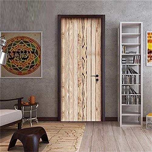 Deurbehang deurfolie poster 3D Retro deursticker zelfklevend waterdicht Home DIY behang voor woonkamer slaapkamer houten deuren deco 77X200Cm