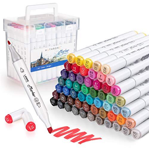 Hethrone Pennarelli ad Alcool 60 Colori Pennarelli ad Alcool Set per Bambini da colorare per Adulti, pennarelli a Doppia Punta a Base di Alcool per disegnare e Fare Schizzi.