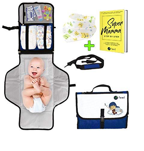 Cambiador portátil plegable – Ufeel – Primera Infancia – Regalo para bebé – Cambio pañal para bebé – Carrito para bebé – Colchón acolchado bianco blu