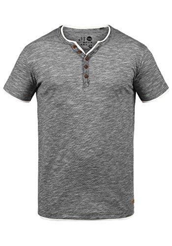 !Solid Digos Herren T-Shirt Kurzarm Shirt Mit Grandad-Ausschnitt Im Double-Layer Look Aus 100% Baumwolle, Größe:M, Farbe:Black (9000)