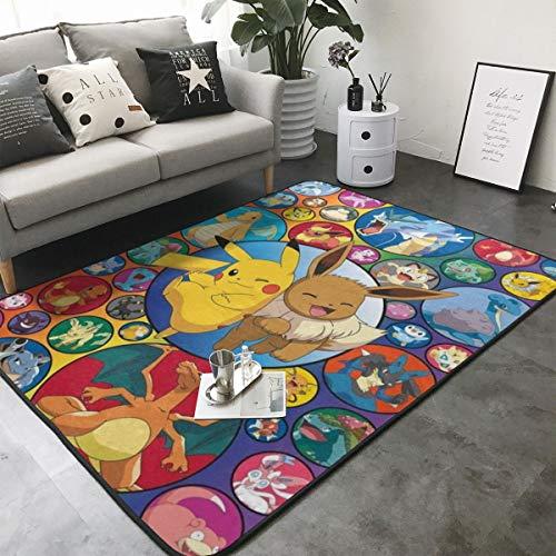 Pillow Hats Poke-mon Ee-v-ee 2 Home Decoration Large Rug Floor Carpet Yoga Mat, Modern Area Rug for Children Kid Playroom Bedroom 60 x 39 inch
