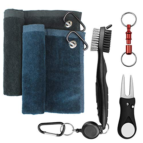 Yotako 2 Pack Micoriber Golf TowelsGolf Accessories Golf Cleaning Brush Tool Kit with Carabiner ClipRetractable Club Groove Cleaner BrushFoldable Divot Repair Tool with Ball Marker