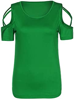 Women's Casual Blouses Solid Cutout Short Sleeve O Neck Slim Fit T-Shirt Tops Summer Breathable Comfortable Tunic