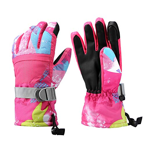 Aisprts Ski Gloves, Warmest Waterproof and Breathable Snow Gloves for Mens,Womens,Ladies and Kids Skiing,for Parent Child Outdoor (Rose, S(Fit Kids 6-8 Years Old))