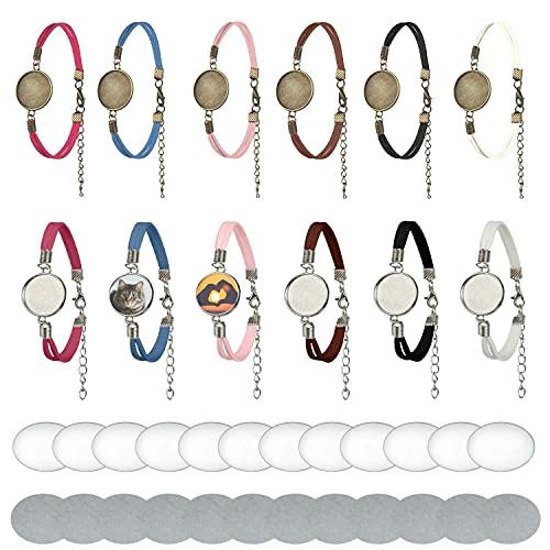 12 pulseras con biseles en bruto, ajustes de sublimación, pulseras de plata y...