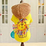 Fall and Winter Newest Yellow Color Woolen Cloth Warm Coat for Pet Dog Casual Style Fashion Dog Clothes Halloween Dog Costume,Yellow,M