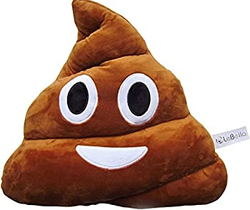 LeBeila Emoji Pillow Prime Stuffed Cushion Poop Emoji Pillow - Poo Shaped Happy Naughty Laughing Face Doll Toy Big 32cm  One Size Brown